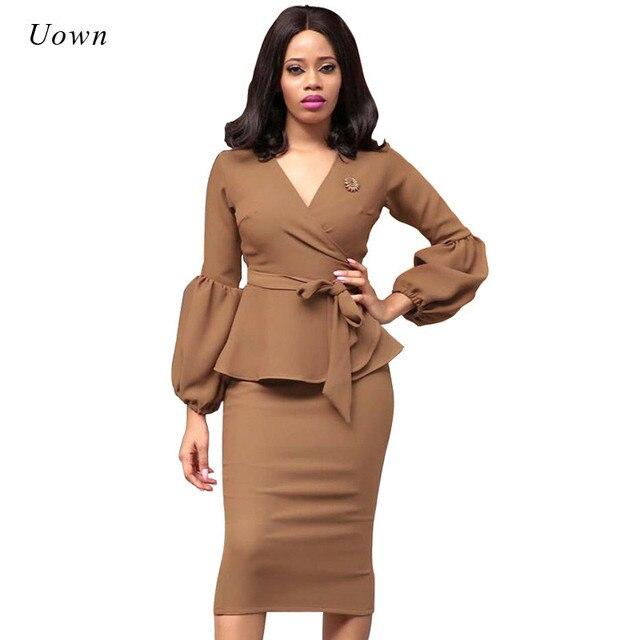 4e1dd3b10ad Осень 2018 г. Модные женские офисные платья баски карандаш свободное  кружевное платье формальные бизнес наряд