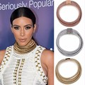ZA 2017 New Punk Kim Kardashian Wide Stretch Rope Gold Chocker Necklace Maxi Colar Statement 90s Neck Choker Collier Femme Women