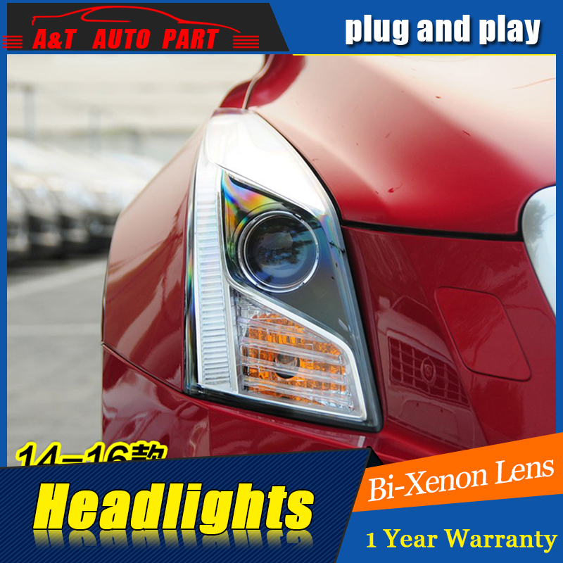 Car Styling For Cadillac ATS headlight assembly 2014-2017 For ATS LED head lamp Angel eye led H7 with hid kit 2 pcs.