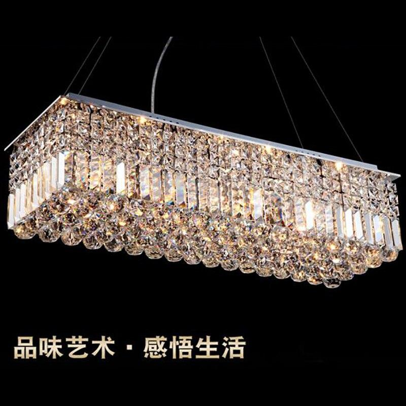 Image 3 - LED Modern Rectangular Crystal Chandelier Light Pendant Lamp Hanging Lamp for Living Room Dining Room Restaurant Decoration-in Ceiling Lights from Lights & Lighting