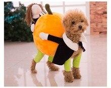 New Funny Pumpkin Dog Costumes Halloween Novel Pumpkin Pet Coat Fleece Small Dog Super Cute Costumes Fancy Pet Clothes