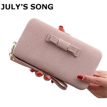 Lady Big Capactiy Women Wallet Casual Long Purse Wallet Female Small Clutch Bag With Bowknot Ladies Cell Phone Coin Purses