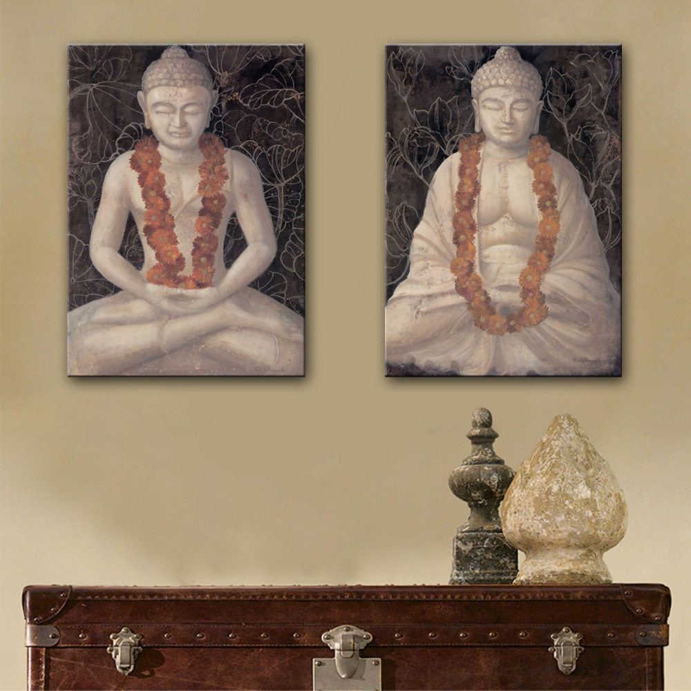 online get cheap painting statue buddha aliexpress com alibaba new arrival two pieces oil painting stone buddha statue decoration painting set of 2 home decor