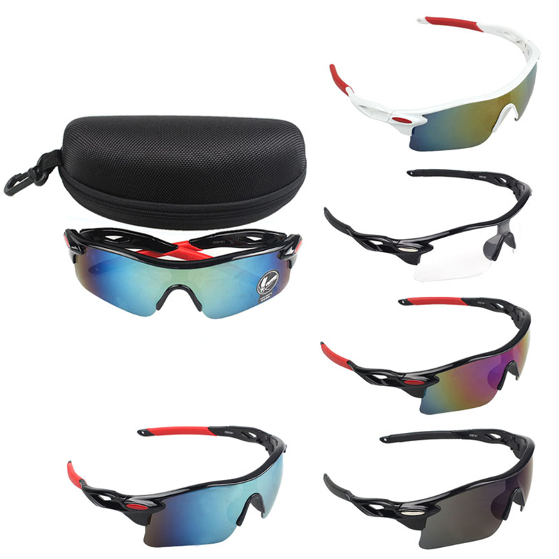 Strong Cycling Sun Glasses Outdoor Sports Bicycle Glasses Bike Sunglasses Goggles Eyewear with glasses case #2M12#F