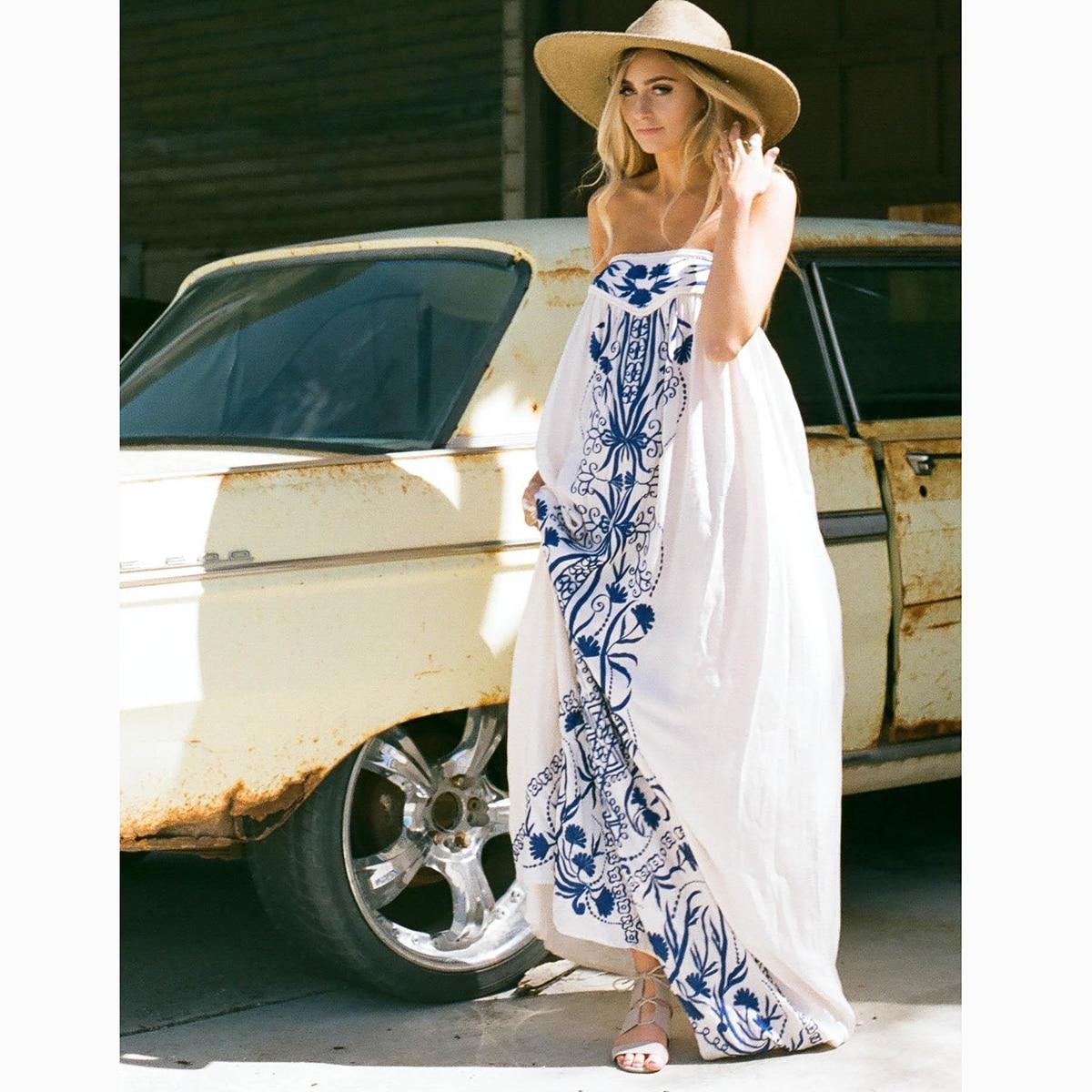 Broderie florale sans bretelles Maxi robe femmes vêtements d'été 2019 Vintage lâche robes blanches plage Hippie Boho Chic longue robe - 4