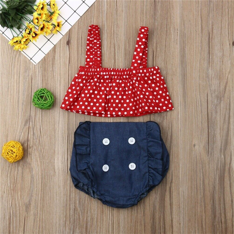 Kids Summer Clothes Newborn Roupa Menino Roupas Infant Baby Girls Outfit Polka Dot Tops+ Short Pants 2pcs Clothes Set