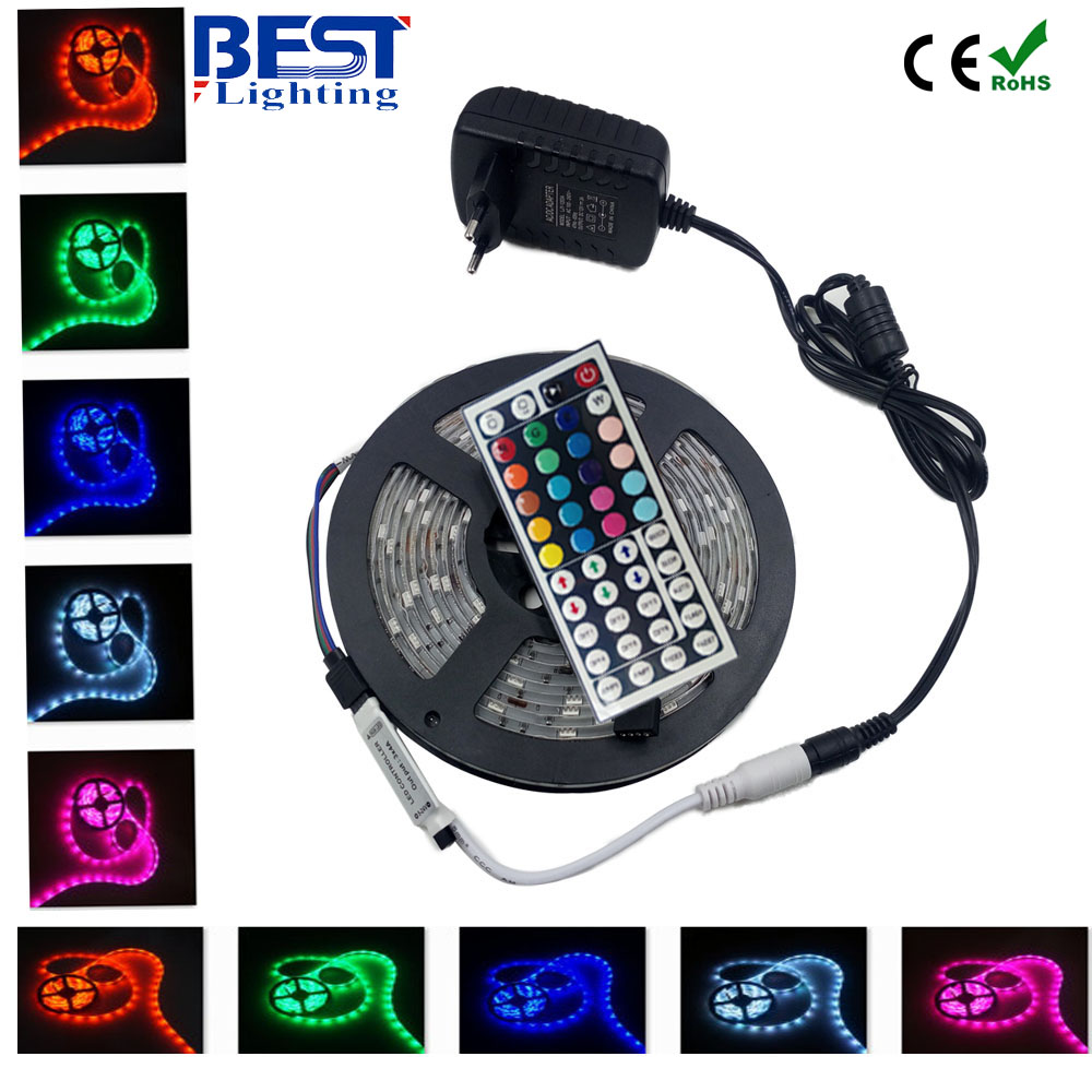 5050 RGB led strip 5m fita de led tape  diode feed tiras lampada  ac dc 12V led light+44 key rgb controller+ 36W adapter