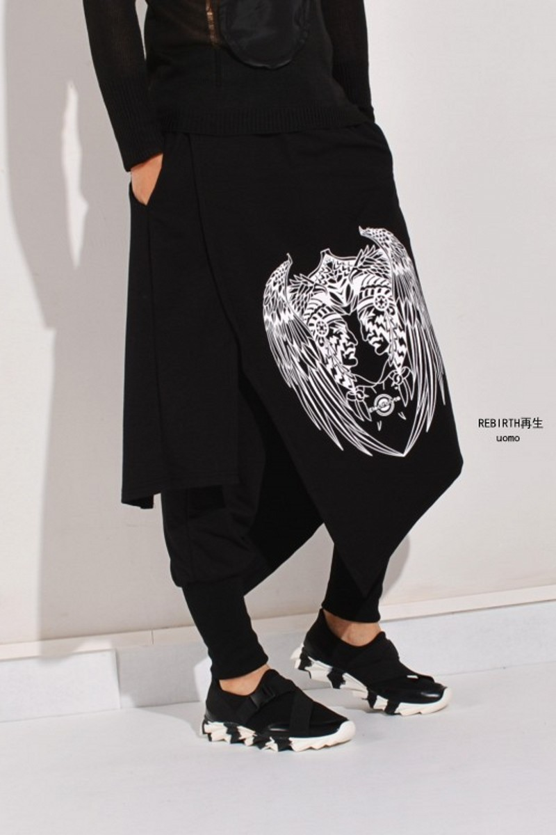 M-XL!!! Faux Two Piece Trousers Male Big Personality Harem Pants Harem Pants Spring And Autumn Male Culottes The Singer's Clothi