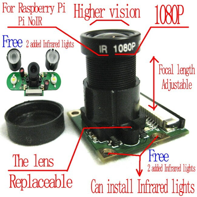 US $17 1 5% OFF|Raspberry Pi 3 Model B/2B/B+ Night Vision Camera  Module,with free 2 IR lights board-in Demo Board from Computer & Office on