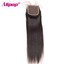 Alipop перуанский Прямо Синтетические волосы на кружеве с ребенком волосы не Волосы Remy Швейцарский Кружева Человеческие волосы Накладные волосы натуральный черный 4 цвета * 4 Размеры