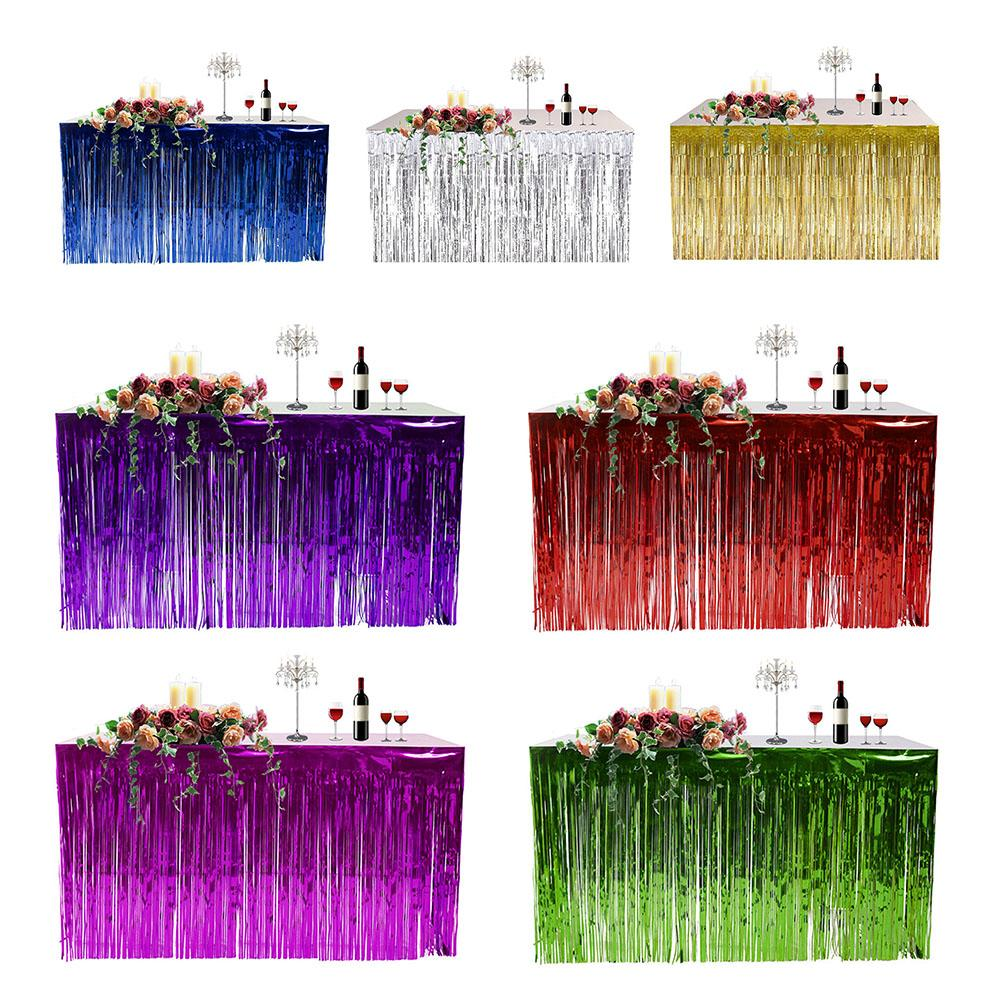 Hawaiian Metallic Foil Fringe Shiny Tassel Table Skirt Thickened Table Curtain For Wedding Birthday Party Decoration Dropshiping
