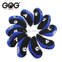 10Pcs Golf Iron Head Covers Neoprene Transparent Window Golf Club Iron Head Protector Golf Accessories