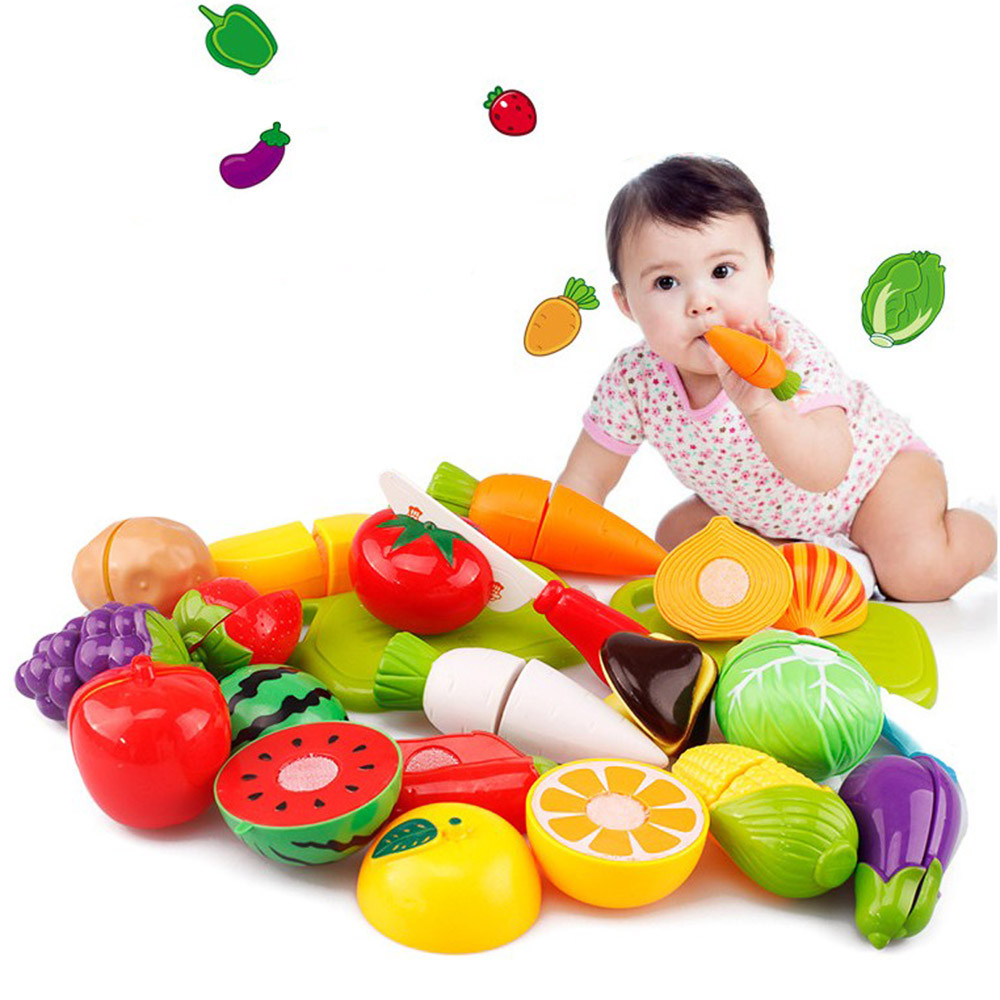 20PC Cutting Fruit Vegetable Pretend Play Children Kid Educational Toy Children Educational Decorations Early Learning Toys