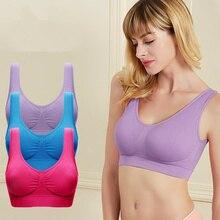 Women Sexy Sports bra With Pads Seamless push up top plus size S-4XL underwear wireless Bra black/white/blue/purple pink