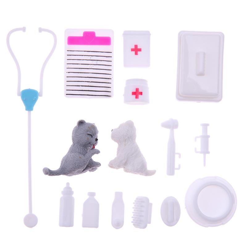 15pcs/Set Kids Toy Mini Plastic Puzzle Science Educational Toy KIds Doctor Nurse Medical Role Play Toys Set Doll Accessories