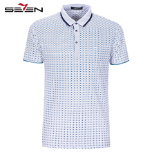 Seven7 Men Polo Shirts Summer Short Sleeve Slim Casual Polo Shirts Argyles Pattern Small Letters Print Polo Shirts 110T50400