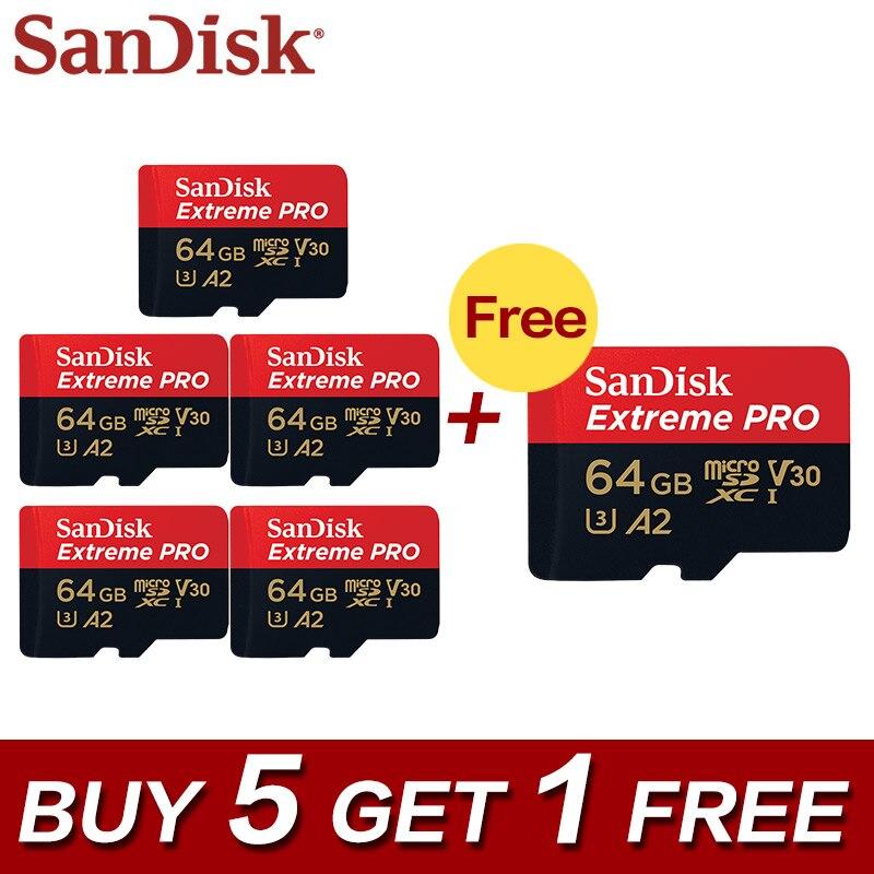 5 + 1 SanDisk Extreme Pro A2 64 gb Micro SDXC UHS-I Carte Mémoire Micro SD Carte 32 gb TF carte Class10 U3 Avec SD Adaptateur Pour Téléphone