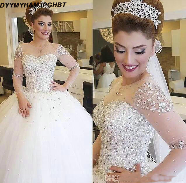 Luxury Crystals Beaded Ball Gown Wedding Dresses 2019