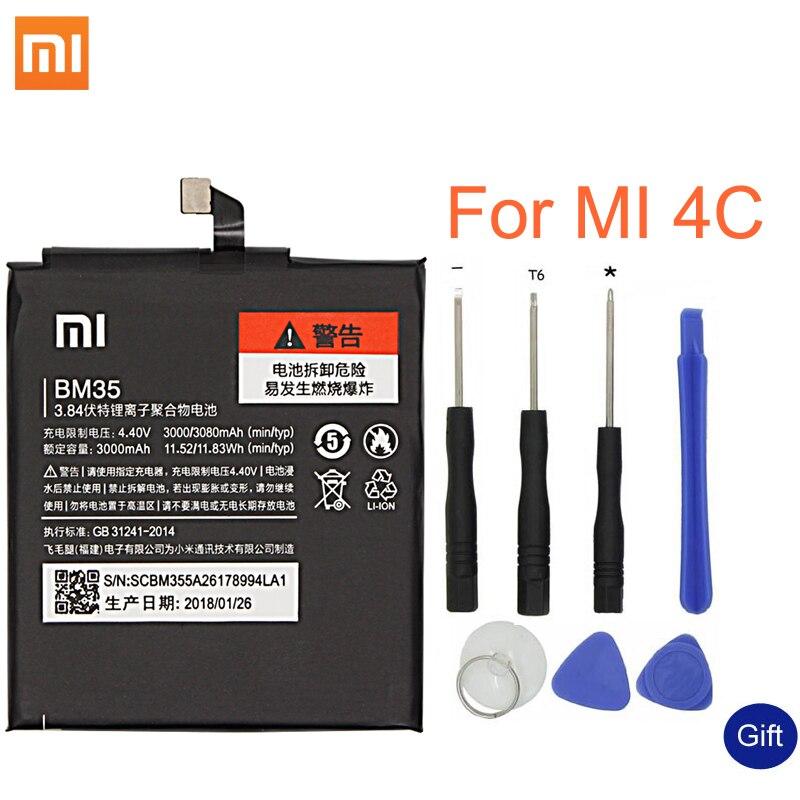 Xiao mi Original batería de reemplazo BM35 para Xiaomi mi 4C teléfono móvil de la batería recargable de 3080 mAh