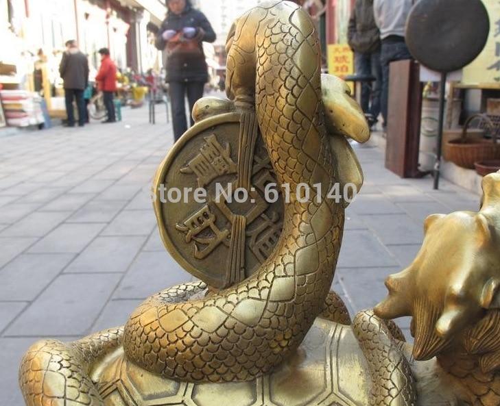 K @ 14 @ AA @ Chinois En Laiton Sculpté Dragon tortue Jouer Argent serpent Chanceux Noir Guerrier statue - 3
