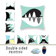 Symmetrical Geometric Double-sided Polyester Printed Cushion Cover Decoration Black and White Pattern Blue Hug Pillowcase