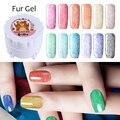 1 Box Soak Off Fur Gel 5g Fur Effect Manicure UV Gel Polish 12 Colors Harunouta