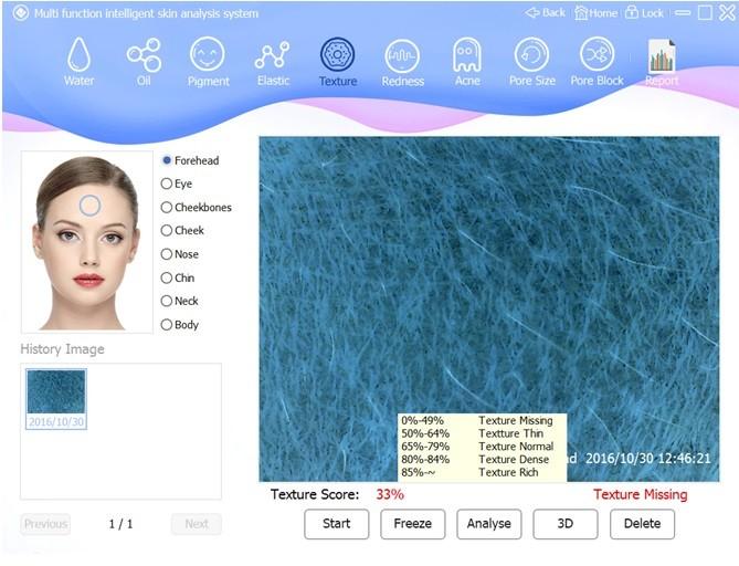 skin analyzer detail