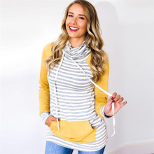 S-XL autumn winter striped tops blouse women hoodies slim patchwork casua leisure pocket