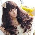 Moda 2015 do Estilo de Japão Peruca Longo Encaracolado Perucas Sintéticas Para As Mulheres Cap Cabelo Livre