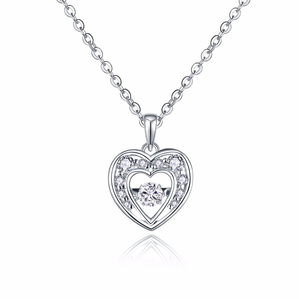 925 sterling silver pendant,heart pendant,dancing cz diamond pendant, sterling silver jewelry ,necklace for women,chain necklace NP30820A (1)