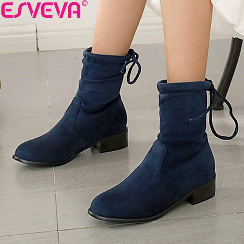 ESVEVA 2019 kış kadın çizmeler Lace Up yuvarlak ayak ayakkabı kadın yarım çizmeler kare Med topuklu dikiş ayakkabı sentetik boyutu 34 -43