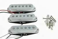 Set Of 3 White Flat Pole Alnico 5 Single Coil Pickups High Output Sound Strat SSS