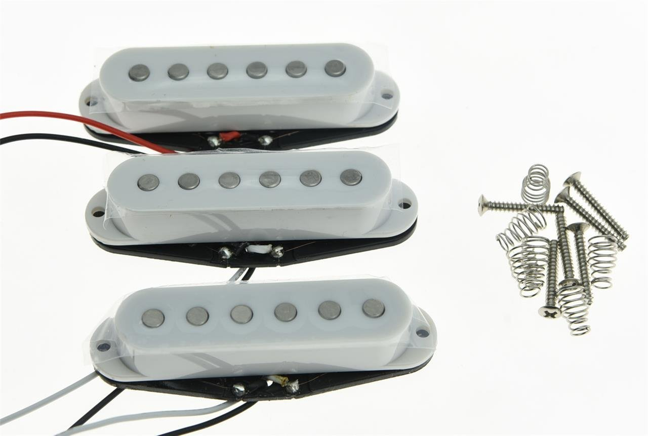 Set of 3 White Flat Pole Alnico 5 Single Coil Pickups High Output Sound Strat SSS Pickup tsai hotsale vintage voice single coil pickup for stratocaster ceramic bobbin alnico single coil guitar pickup staggered pole