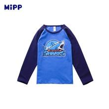 цена на MIPP Kids 2-12T Spring Autumn Pure cotton casual cartoon shark cartoon pattern Long  T-shirt For Boys T shirts Boy Shirt Tops Ch