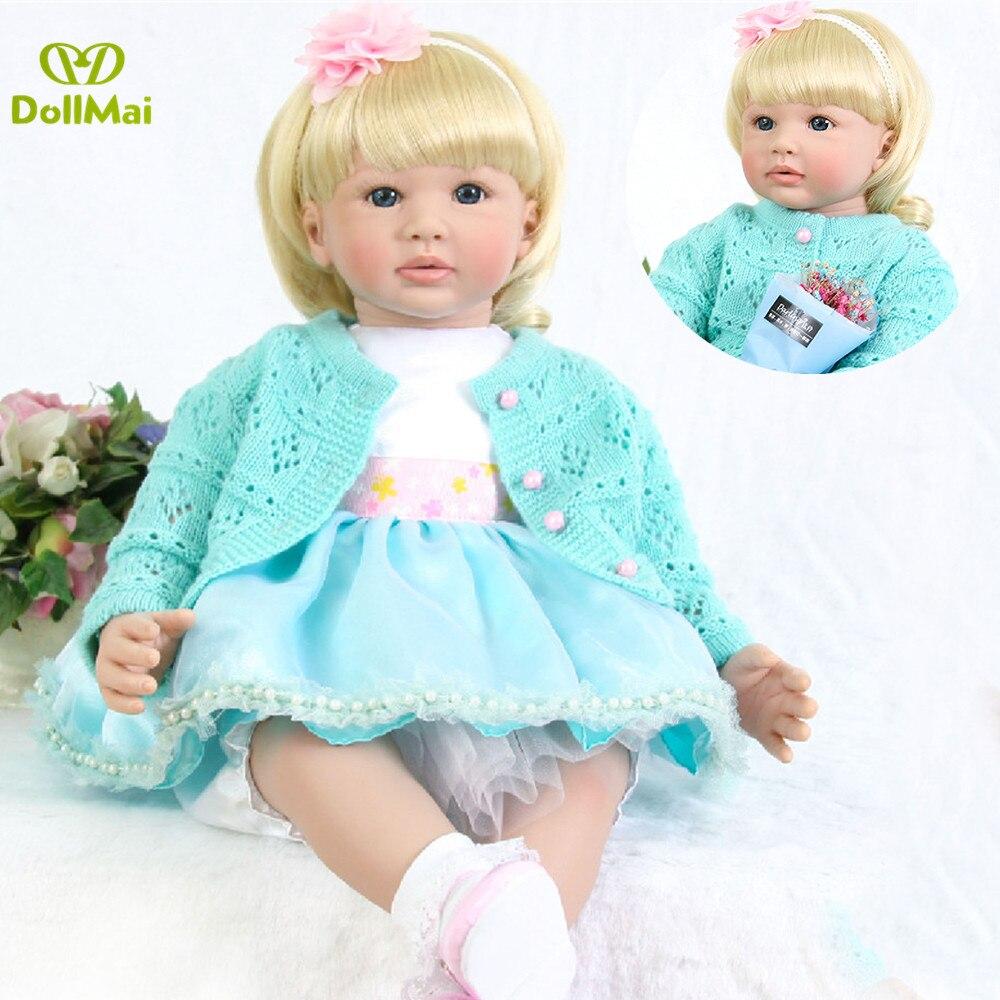 58 cm Gladde touch siliconen reborn party zoete realistische blonde prinses lucy baby pop meisjes of jongen verjaardagscadeau bebe reborn-in Poppen van Speelgoed & Hobbies op  Groep 1