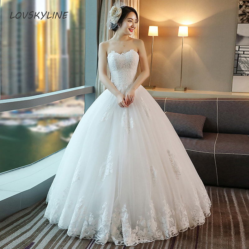 Elegant Lace Princess Wedding Dress  Appliques Vintage Big Lace Edge Bride Dresses Vestido De Noiva Plus Sizes