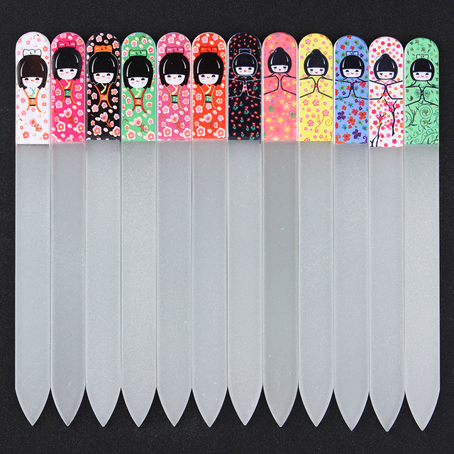 1pc Clear Gl Nail File Buffer Cute Anese Doll Manicure Art Tool Random Color