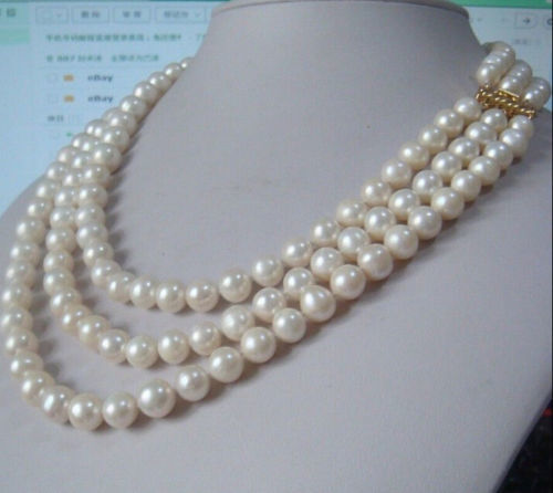 FREE shipping>>>>surprising 3 row natural 9-10mm akoya white pearl necklace 18 - 20 ok gold k 6.07FREE shipping>>>>surprising 3 row natural 9-10mm akoya white pearl necklace 18 - 20 ok gold k 6.07