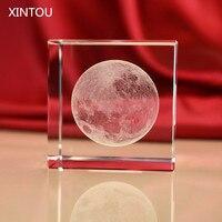 XINTOU Sistema Solar Pisapapeles 3D Grabados Con Láser Cubo De Cristal Luna Estatuilla Decoración del Escritorio de Oficina En Casa Adornos de Artesanía