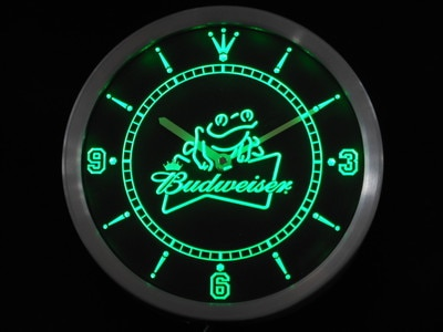 Nc0476 Budweiser Frog Beer Neon Sign LED Wall Clock