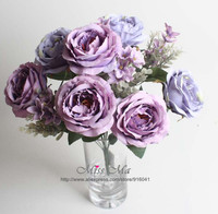 Purple 12 heads/Stem Rose Bunch Rose Bouquet Peony Table Decoration Artificial Flower Wedding Flower Event Party Free Shipping