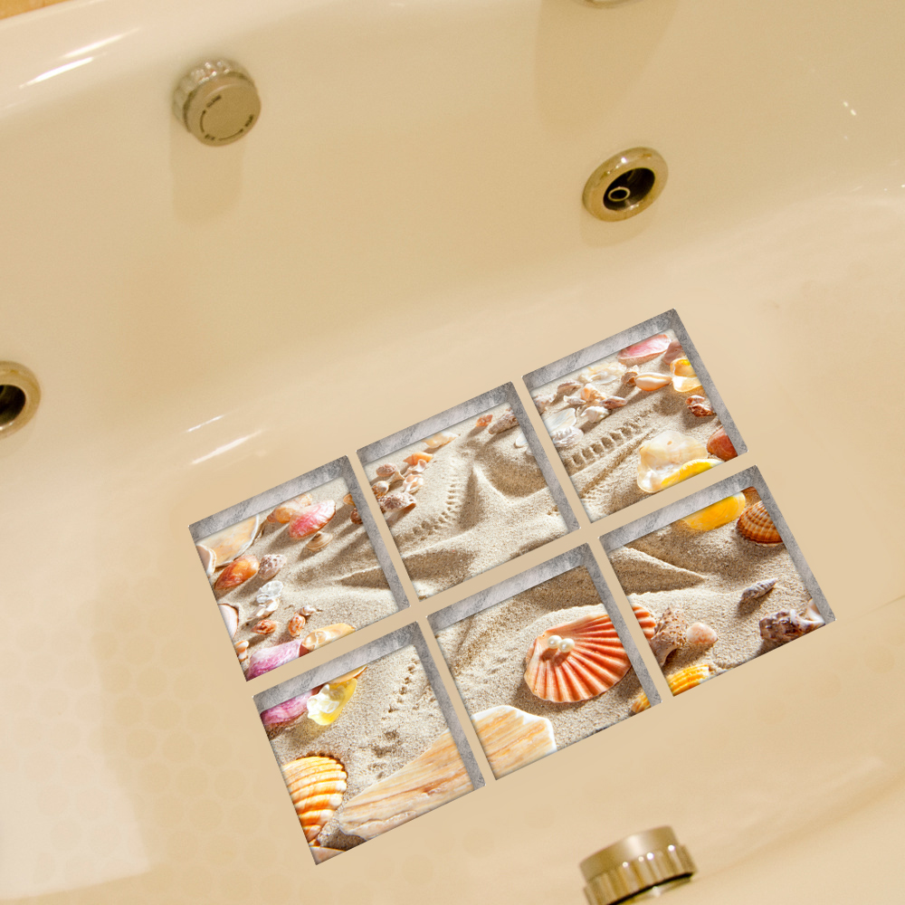 Funlife 3D Anti Slip Waterproof PVC Bathtub Sticker Decor Starfish ...
