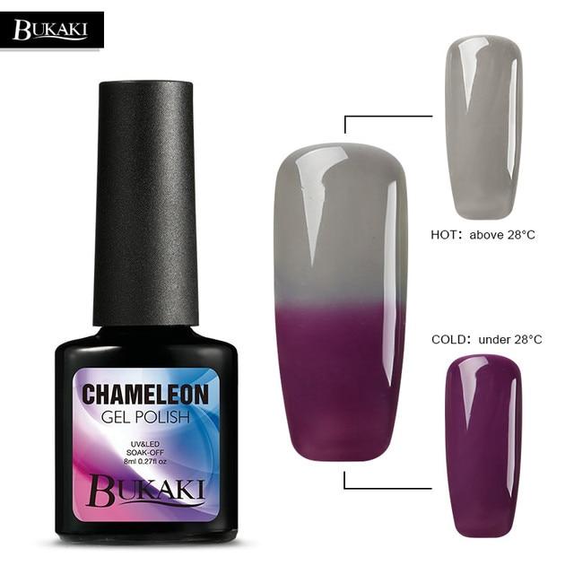 Bukaki Uv Nail Polish Temperature Change Gel Purple Grey Color Lacquer Long