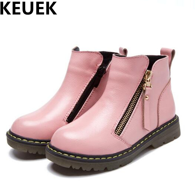 NEW Autumn/Winter Genuine Leather Children Martin Boots Boys Girls Ankle Boots Baby Motorcycle Snow Boots Kids Child Shoes 04 new 2015 botas infantil pu leather boys girls rubber boots for children martin boots kids snow boots sneakers hot item