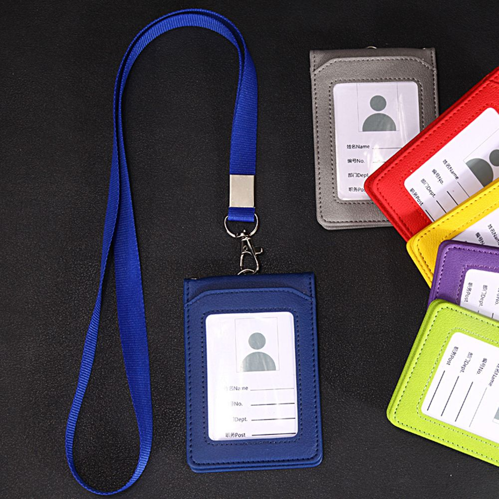 1Pc Leather Wallet Work Office ID Card Credit Card Badge Holder Lanyard Office Company Supplies Work Bus Card Holder