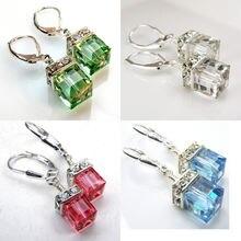 Женские Висячие серьги с кристаллами 4 цвета: синий зеленый