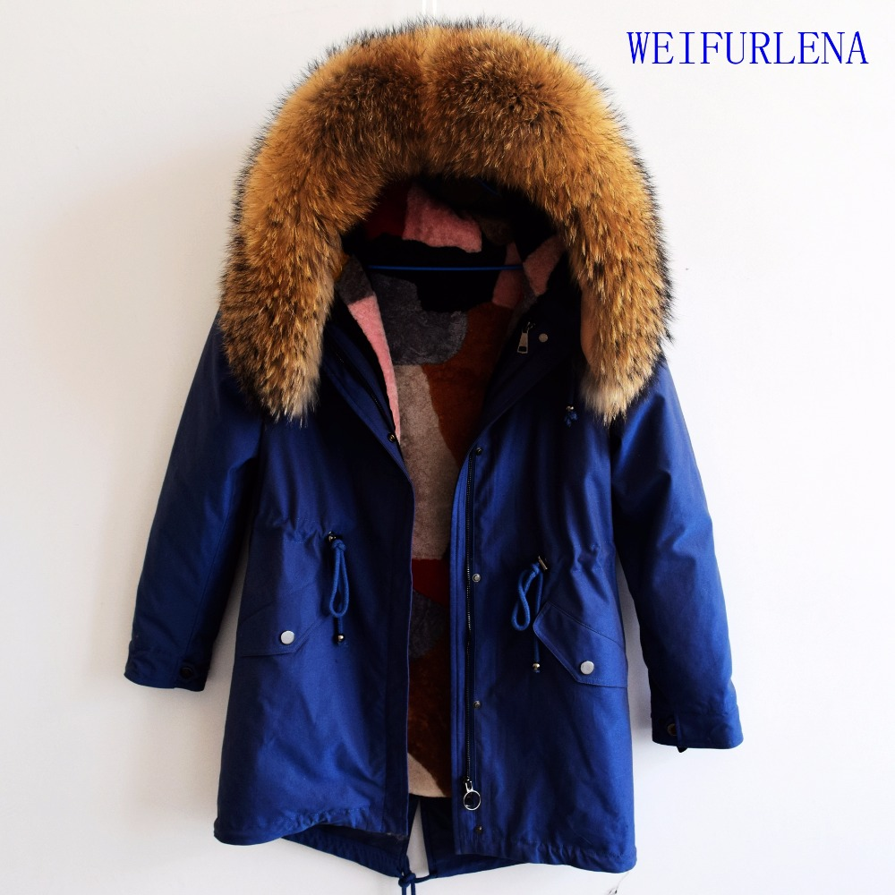 2018 90CM new Luxurious winter jacket women outwear thick warm parkas natural real fox fur collar coat hooded pelliccia