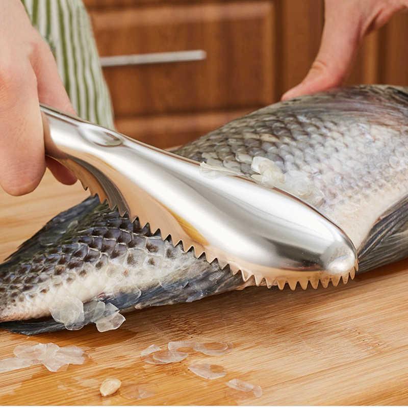 Strumenti di cottura Per Pulire il Pesce Coltello Skinner Pelle di Pesce Raschietto In Acciaio Inox Squame di Pesce Da Pesca di Rimozione a Secco di Gadget Da Cucina