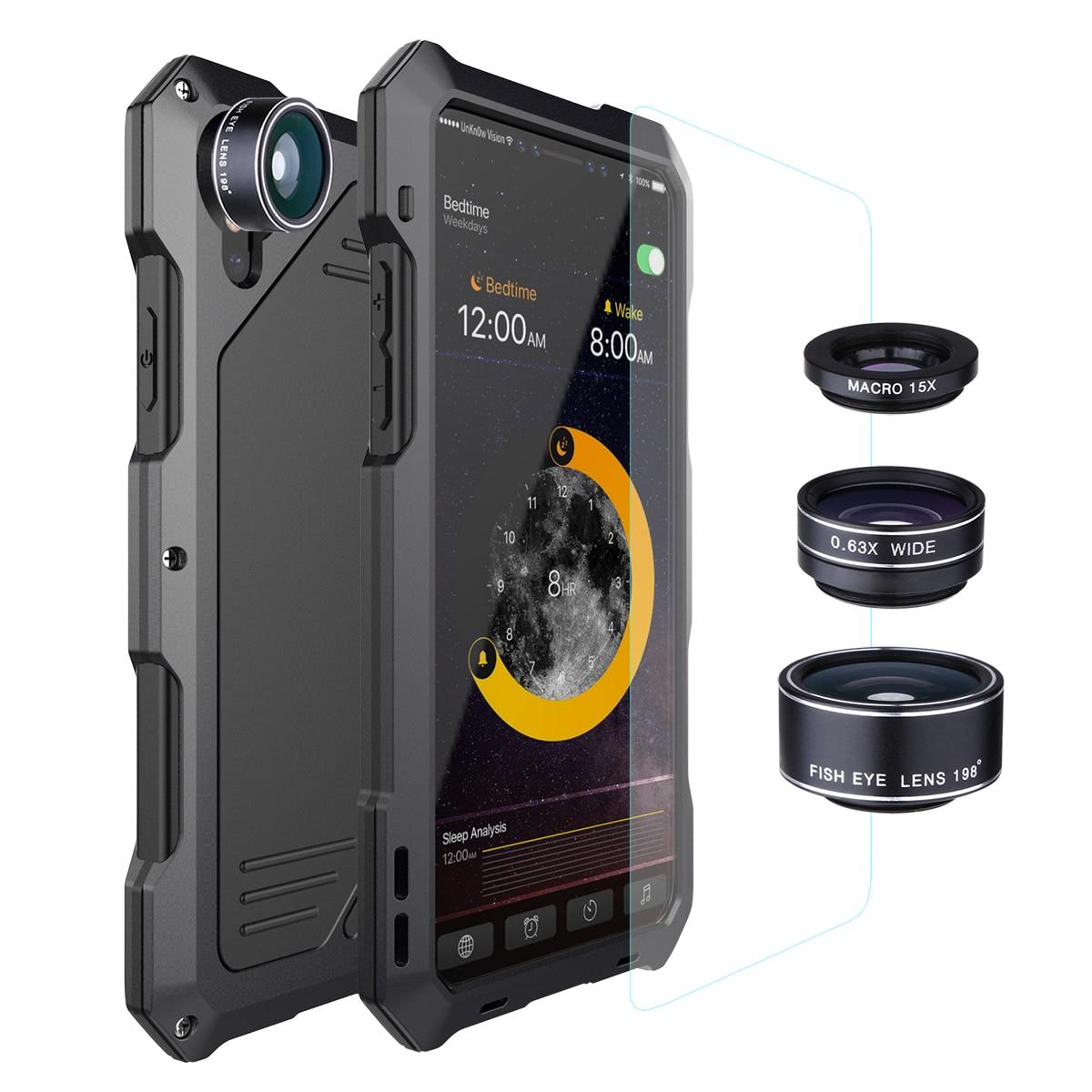 Metal à prova dwaterproof água caso para iphone x xs xr xsmax 5S 6 s 7 8 mais choque liga pára-choques com macro lente olho de peixe grande angular