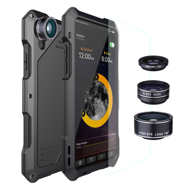 Metal Waterproof Case for iPhone X XS XR XSMAX 5 5S SE 6 6S 7 8 Plus Shockproof Alloy Bumper with Macro Wide angle Fisheye Lens